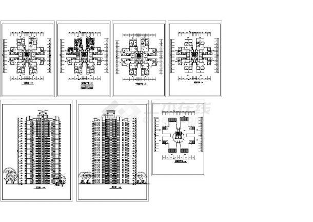 二十六层塔式住宅楼建筑设计方案图.-图一
