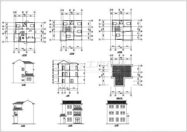 安徽某农村三层住宅建筑设计方案cad图纸,共9张-图一