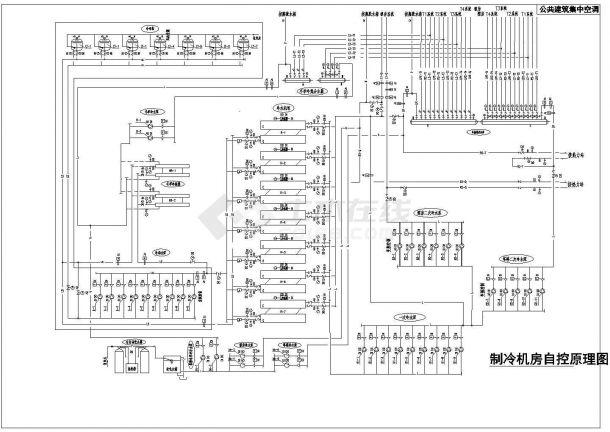 公共建筑集中空调制冷机房自控原理设计cad图-图一