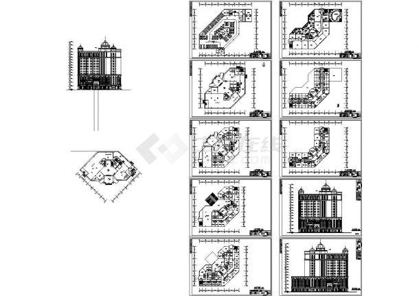 某地大酒店建筑设计方案图(共10张)-图一