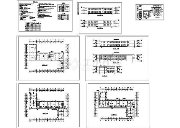 某1130平方米两层砖混结构小学教学楼建筑设计方案CAD图纸-图二