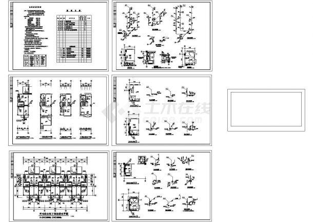 某3层6户联排别墅给排水设计cad施工图(长38米 宽12.6米 ,带一层地下室)-图一