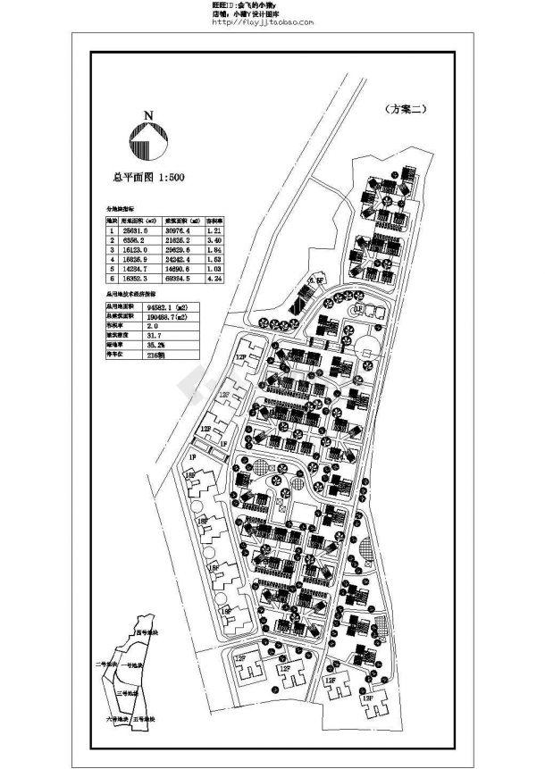 某总用地94582㎡现代多层住宅小区规划设计cad建筑总平面图(含技术经济指标)-图二