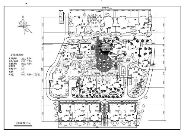 某总用地25870㎡现代高档多层住宅小区规划设计cad总平面布置图(含技术经济指标)-图二