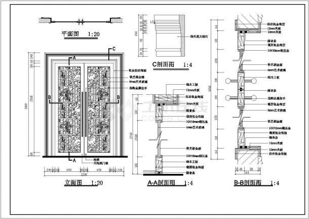 娱乐城双开玻璃推拉门工程设计CAD施工图-图二