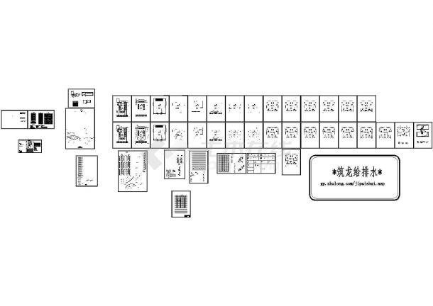 高层大型复杂综合楼给排水消防施工cad图纸-图一