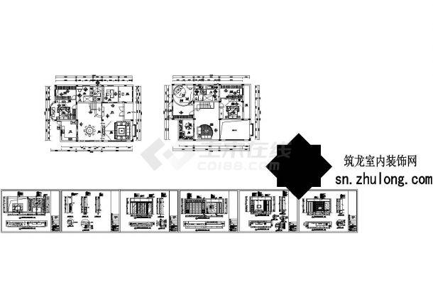 某现代风格三居住宅室内装修设计cad全套施工图含效果图(标注详细)-图二
