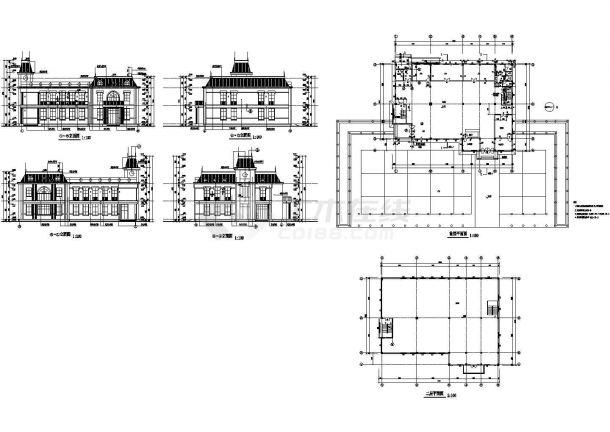 某地二层会所建筑设计施工图(简单实用)-图一