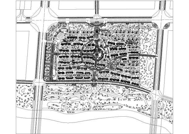 南方某现代大型多层高档住宅小区规划设计cad总平面方案图(甲级院设计)-图一