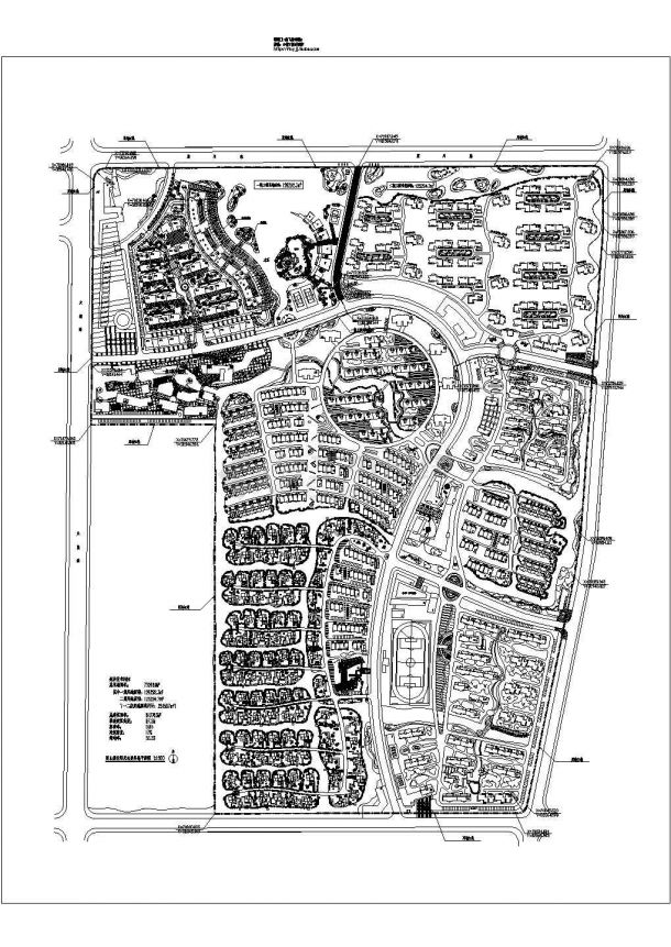 某城市阳光住宅小区(总用地732669㎡)规划设计cad总平面方案图(含经济技术指标)-图二