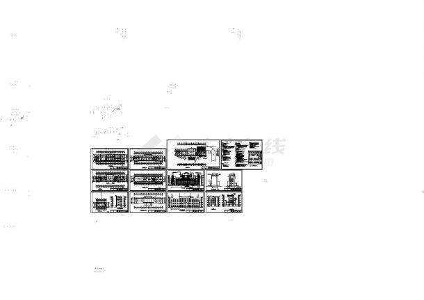 3214平方米五层办公楼建筑结构设计施工cad图,共十二张-图一