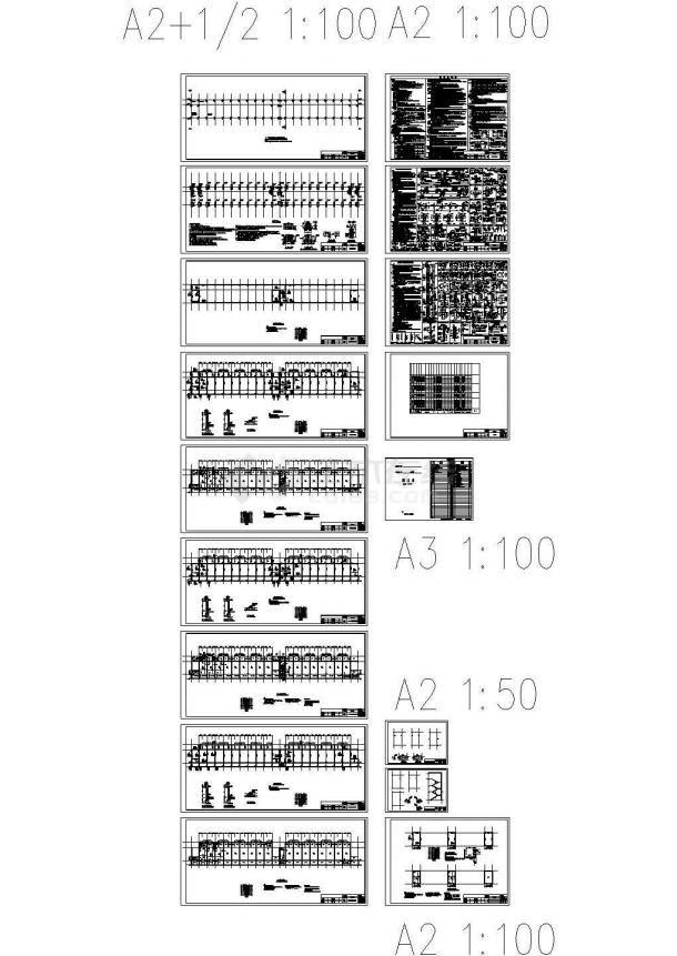 [施工图]某钢筋混凝土柱-钢梁排架宿舍结构设计图(CAD,21张图纸)-图一