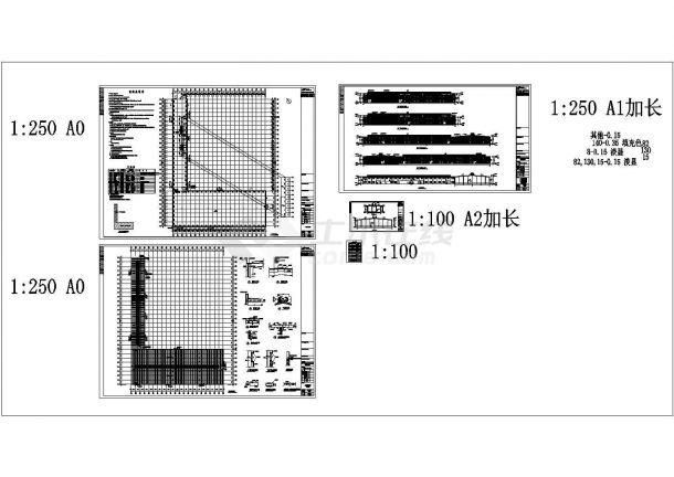 江苏木业公司钢结构厂房设计施工cad图纸,共四张-图二