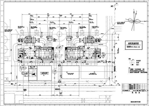 电厂脱硫给水管道总平面布置图cad施工图设计-图一
