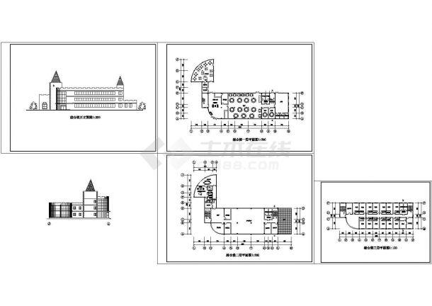 3层渡假村综合楼宾馆建筑设计方案图-图一