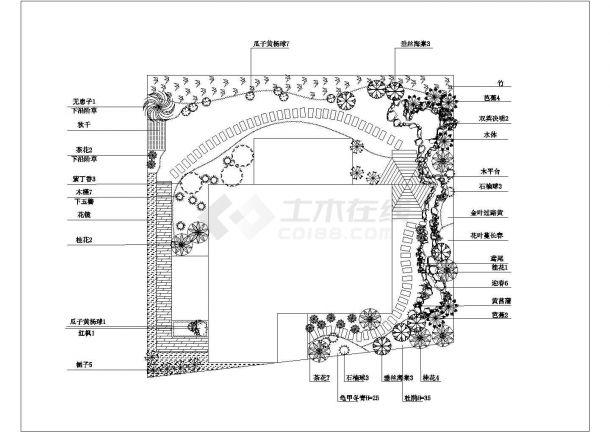 某别墅庭院绿化 平面图cad设计图-图一