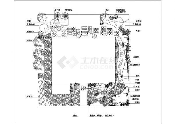 别墅庭院景观绿化设计 平面图-图一