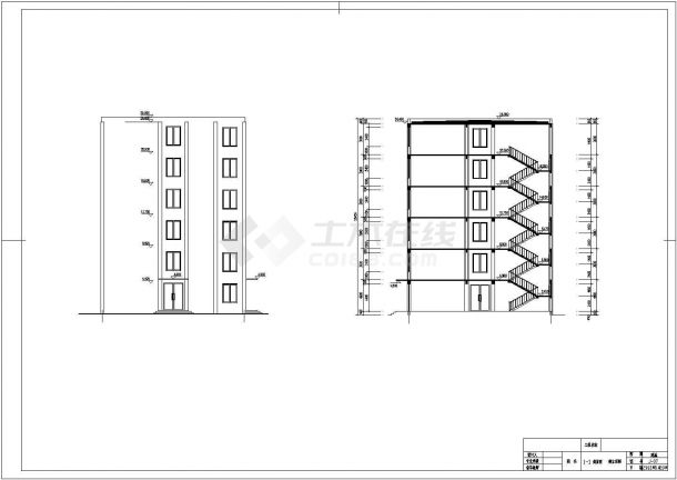 六层现浇钢筋混凝土框架结构中学教学楼建筑图-图一