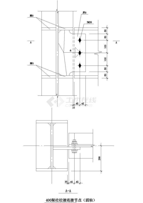 钢梁节点构造详图CADcad施工图设计-图一