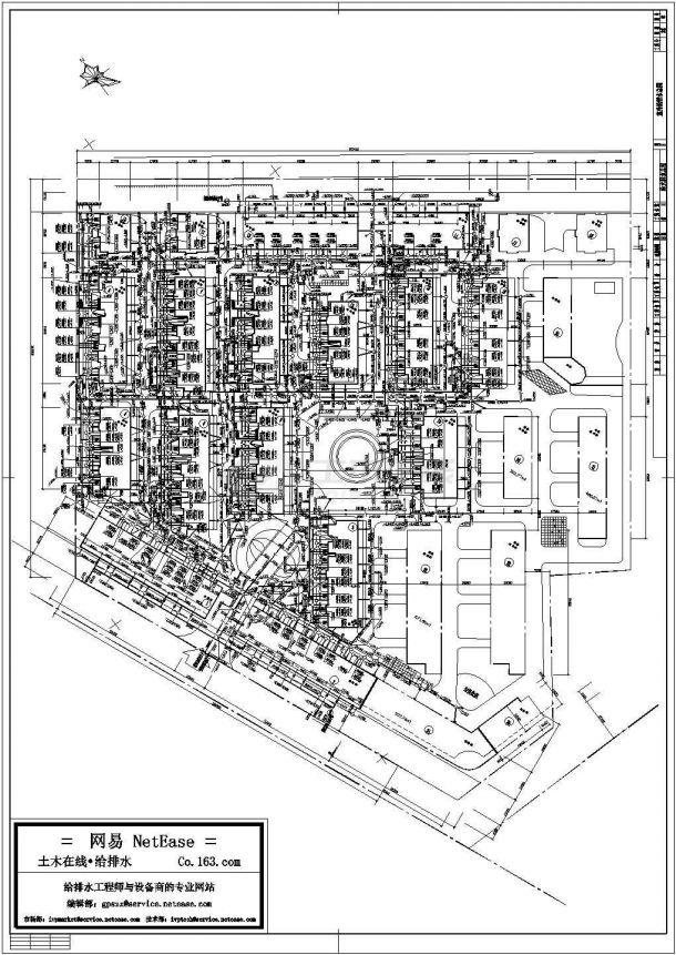 某小区给排水总平面图Cad设计图-图一