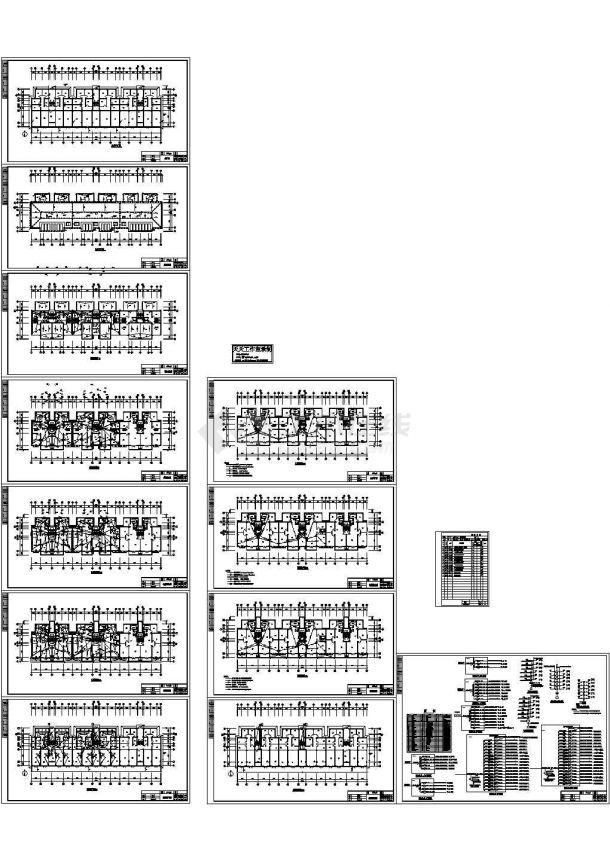 六层住宅楼电气施工cad图(含弱电图,共十三张)-图一