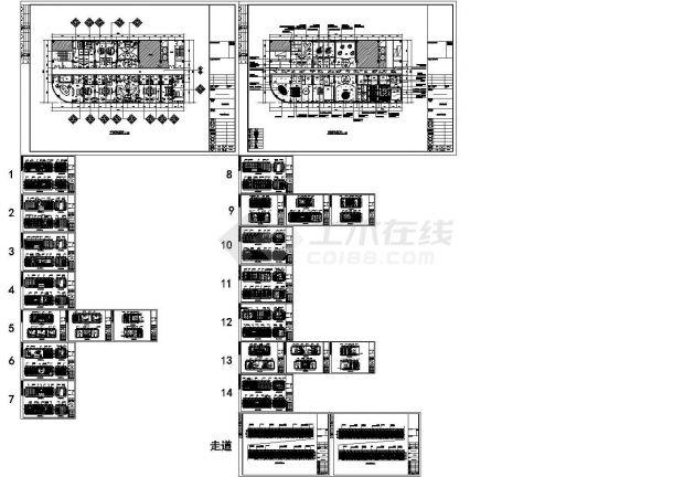 某地主题酒店平、立面全套设计施工图-图一