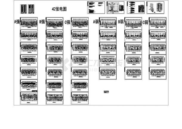 某六层住宅楼电气设计施工图(三相四线制电源),包含(A)屋顶夹层弱电平面图-图一