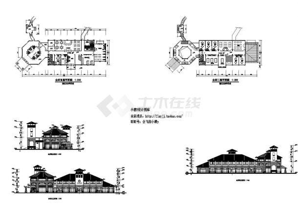 49.46米乘以14.5米 2层会所建筑方案 设计图cad-图二