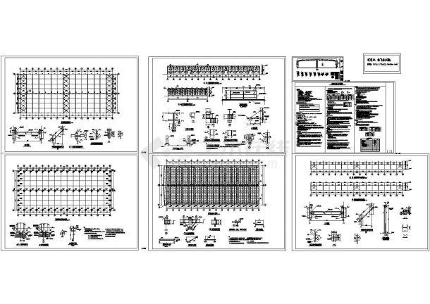 5376平方米钢结构原料库房结构设计施工cad图,共七张-图一