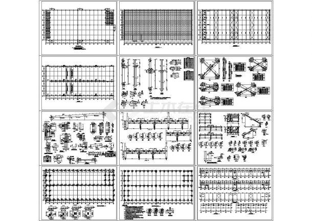 4612平方米单层钢屋面RC柱单层厂房结构设计施工cad图纸-图一