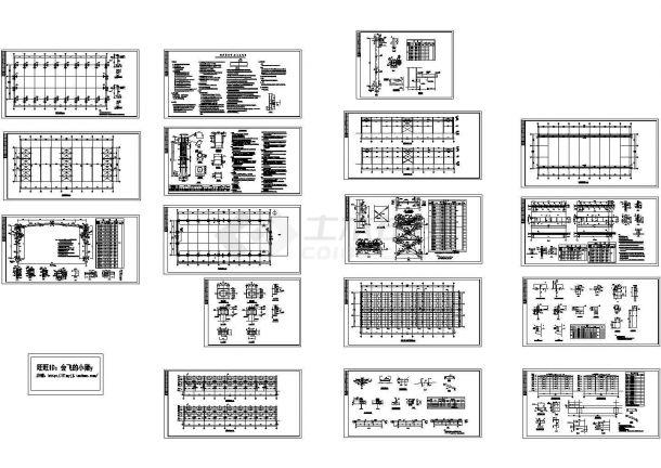 1194平方米钢结构厂房10吨吊车结构设计施工cad图纸-图一