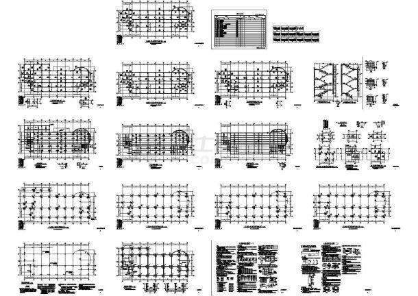 六层框架结构办公楼结构施工设计图CAD版-图一