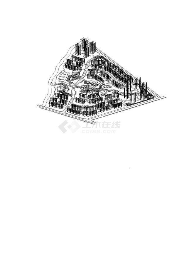 小区CAD三维规划图1张-图一