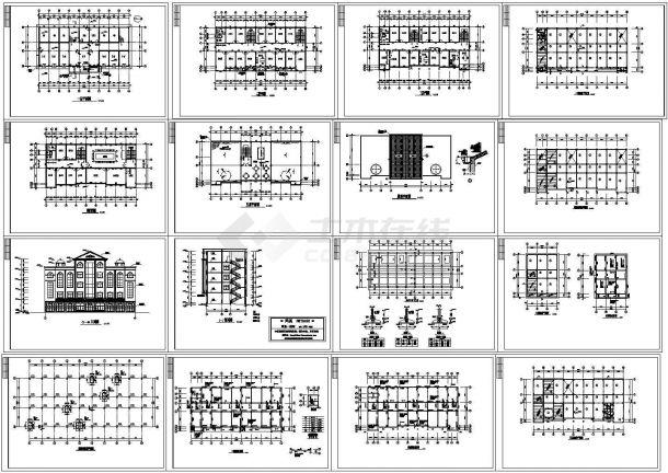 某四层框架结构办公楼设计cad全套建筑施工图纸(含结构设计,16张图)-图一