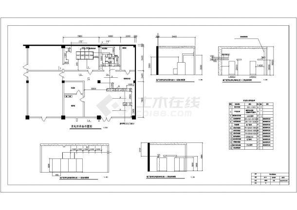 地下室电压变电所施工cad图(含平面布置图)-图二