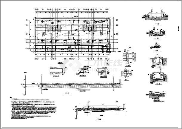某建筑工程设计cad基础换填、筏板基础配筋图(甲级院设计)-图二