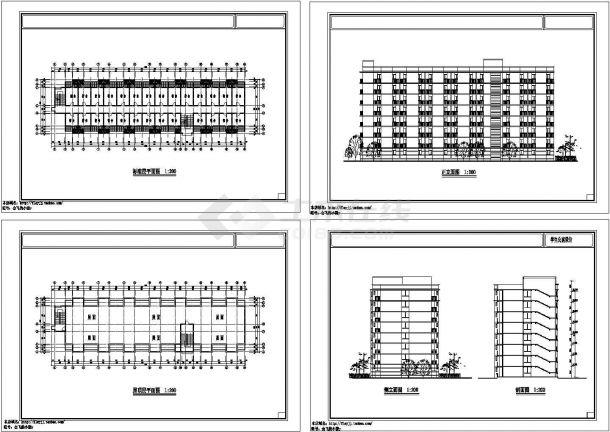 长54.42米 宽15.44米 8层中学生公寓楼建筑方案设计图 【标准层平面 屋顶平面 2立1剖】-图一