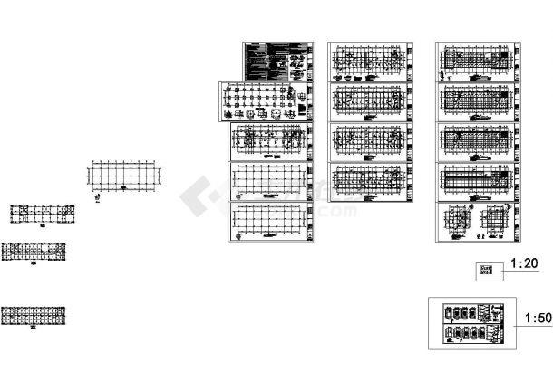 六层框架结构办公楼结构施工dwg-图一