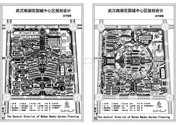 多层小区-花园城中心区规划设计总平面图.cad施工图设计-图一