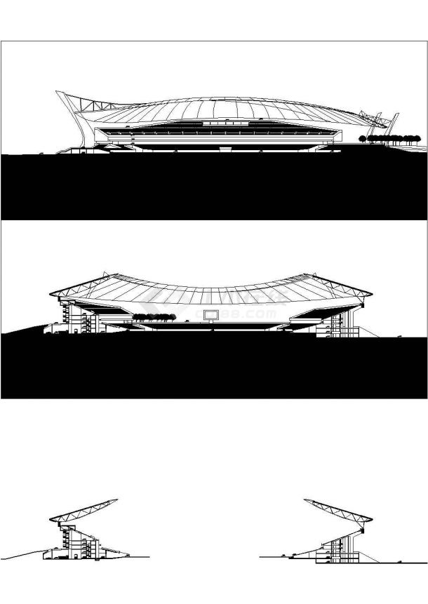 -1+5层大学城大型体育场建筑方案设计图 【各层平面图 总平 剖面图 规划简介(无立面图)3个CAD 1DOC】-图一