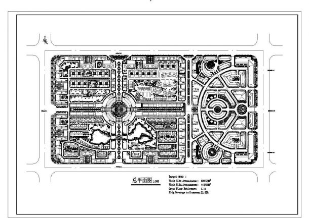 总用地389872平米多层小区规划设计总平面图1cad-图一
