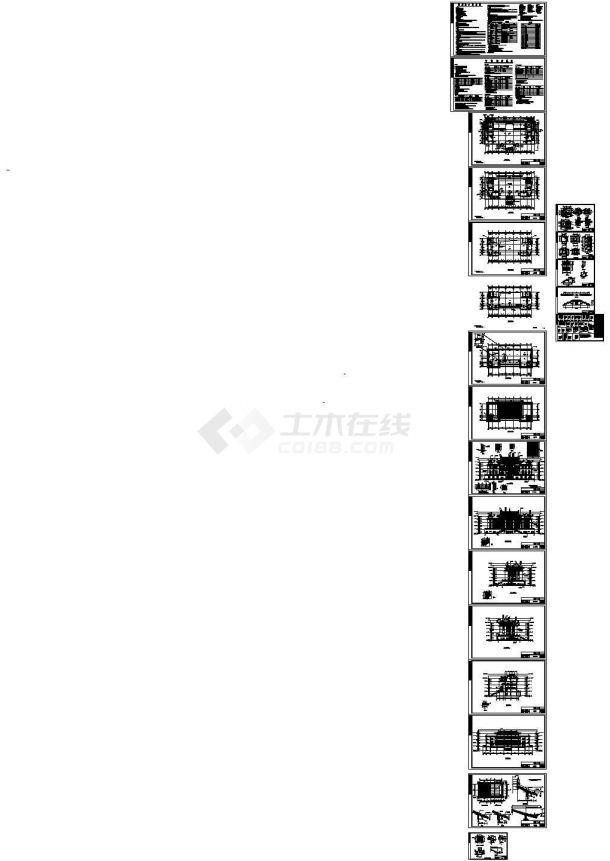 地上五层框架结构仿古建筑寺庙全套建筑施工图纸-图一