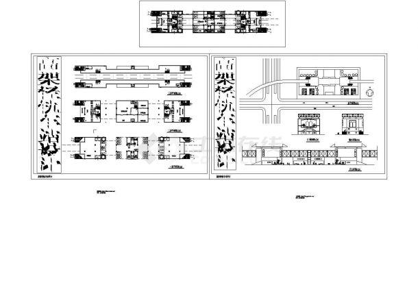 3层高架轻轨车站综合楼建筑设计施工cad图纸,共三张-图一