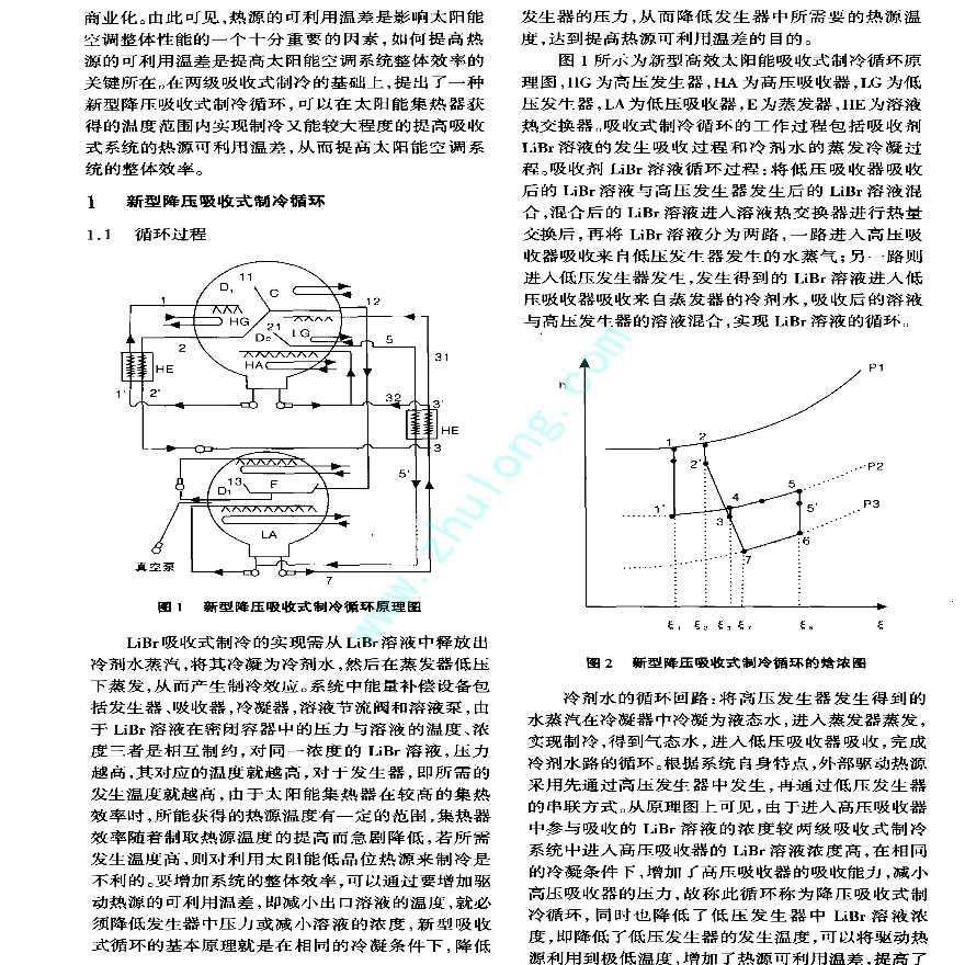 新型太阳能降压吸收式制冷空调系统特性的理论分析-图二