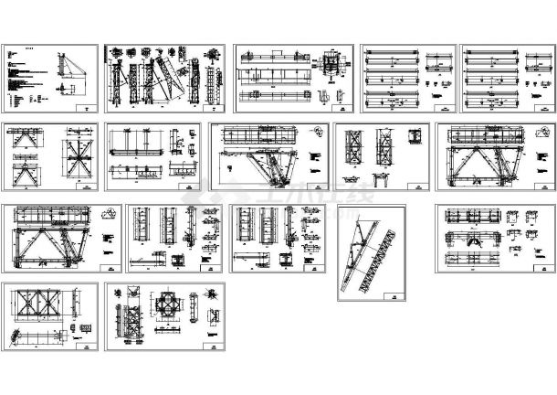 某矿区混合井井架(钢框架+钢桁架)设计cad详细钢结构施工图纸(含设计说明,17张图)-图一