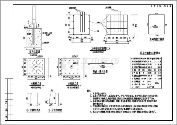 膜结构停车棚结构设计施工图-图一
