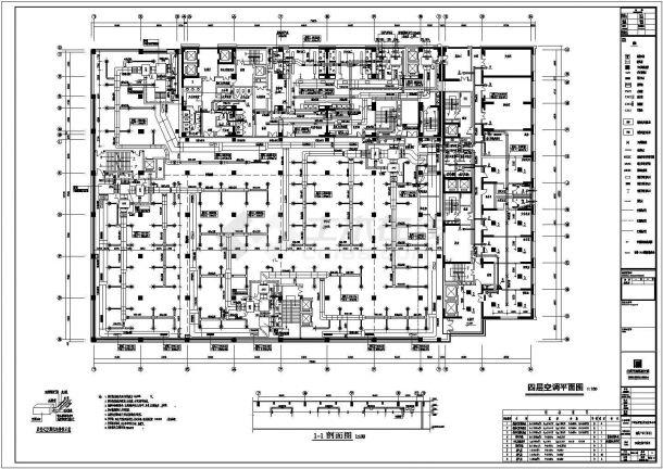 某4层建筑空调平面cad设计施工图(甲级院设计)-图一