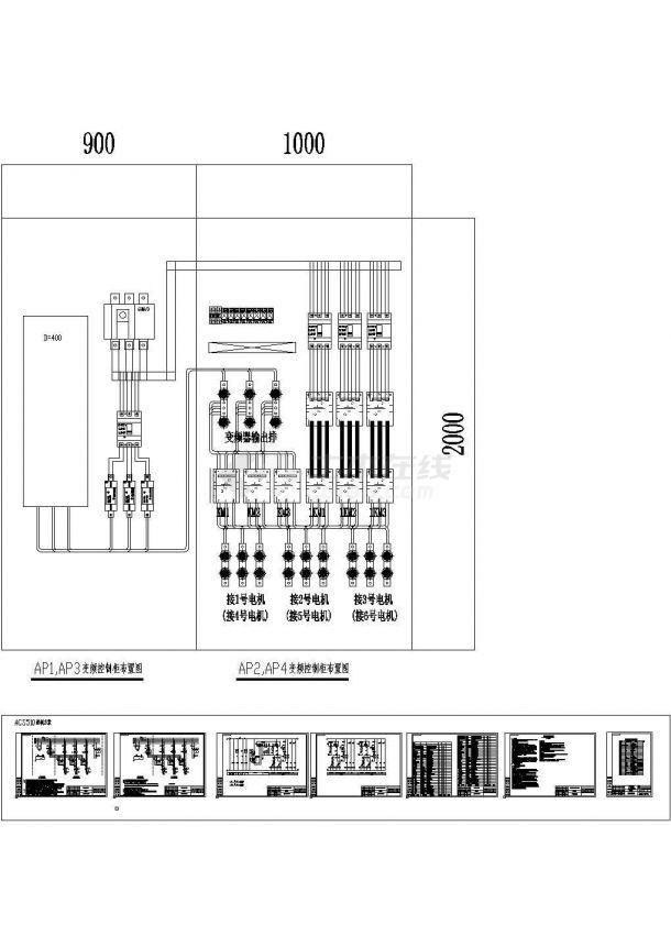某小区变频一拖三恒压供水控制设计cad电气方案图(ABB品牌ACS510型变频一拖三)-图一