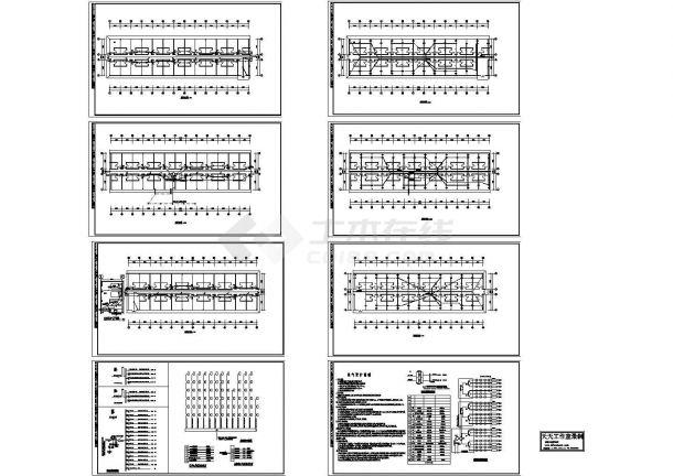 北京职工宿舍电气系统设计施工cad图纸,共八张-图一