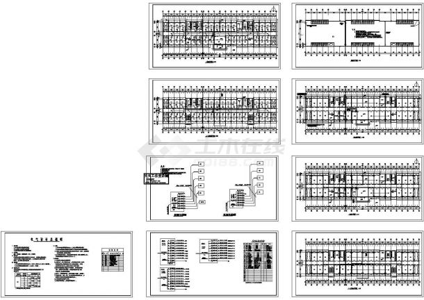 武汉学生宿舍楼电气系统设计施工cad图纸,共九张-图二